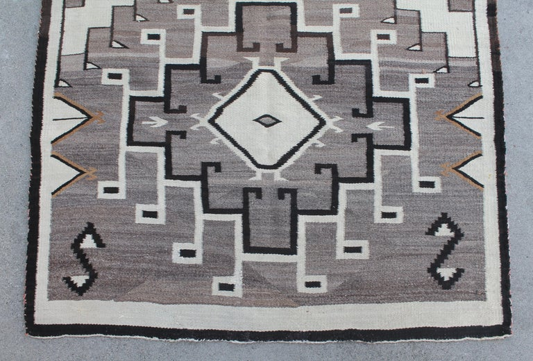 Wool Two Grey Hills Navajo Indian Weaving For Sale