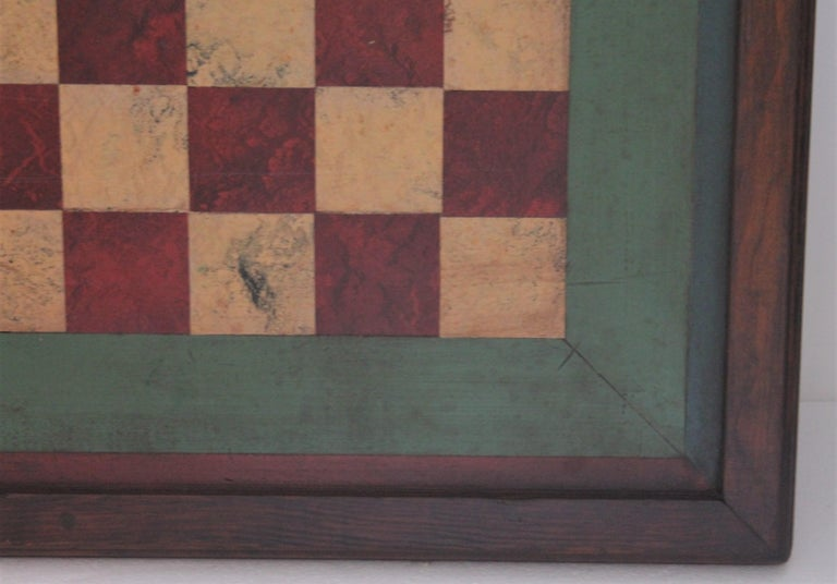 This Folk Art original painted oversize checker board is in cool colors and great condition. This is a handmade game board and was found in the mid west.