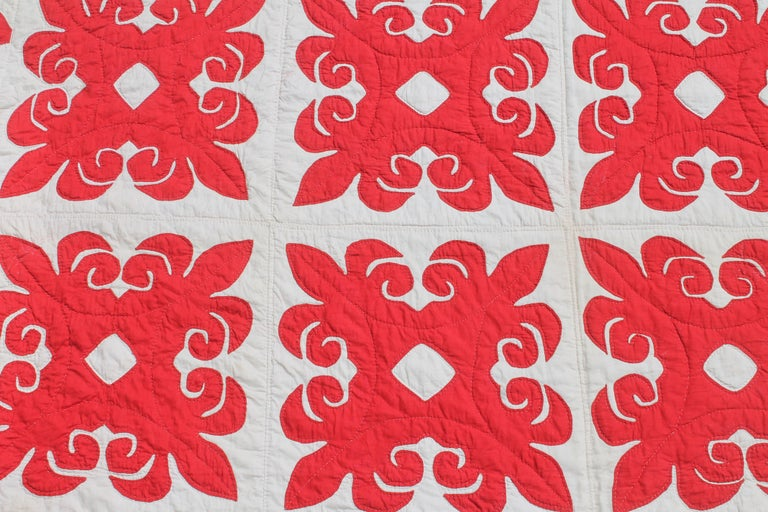Adirondack 19th Century Red & White Quilt with Hearts Suround For Sale