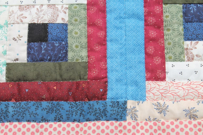 Hand-Crafted Log Cabin Crib Quilt from Pennsylvania For Sale