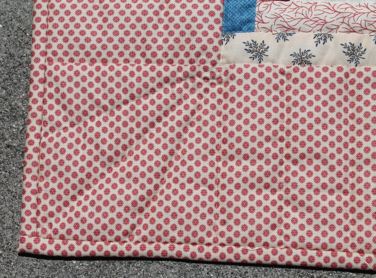 American Log Cabin Crib Quilt from Pennsylvania For Sale