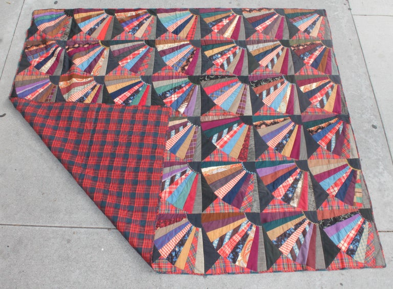 Hand-Crafted 19th Century Crazy Fan Quilt For Sale