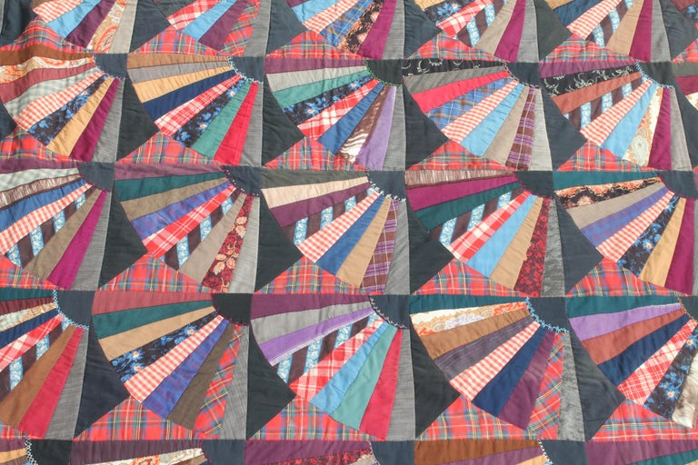 American 19th Century Crazy Fan Quilt For Sale
