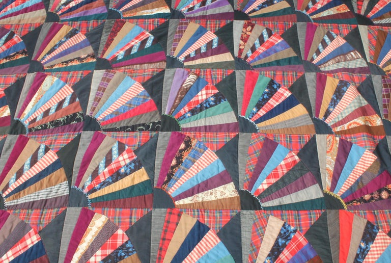 Wool 19th Century Crazy Fan Quilt For Sale