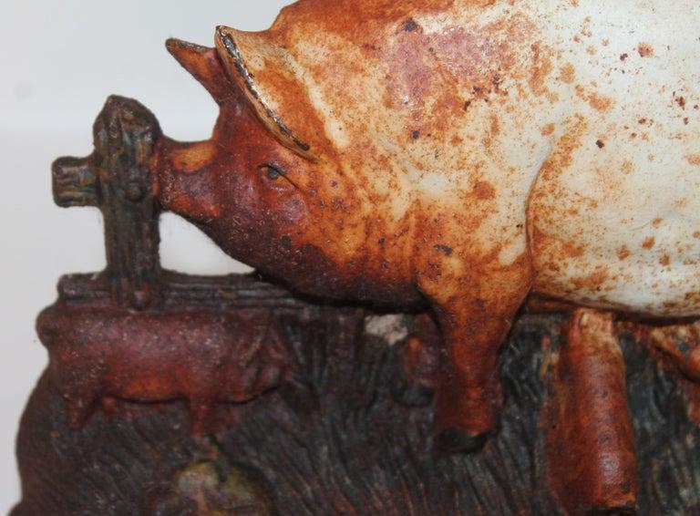 American 19th Century Original Painted Pig Door Stop For Sale