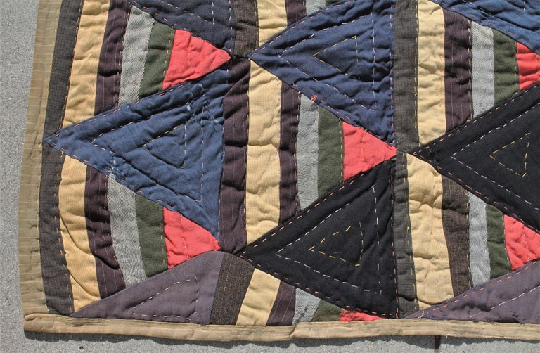 Country Afro-American Roman Stripes Quilt For Sale