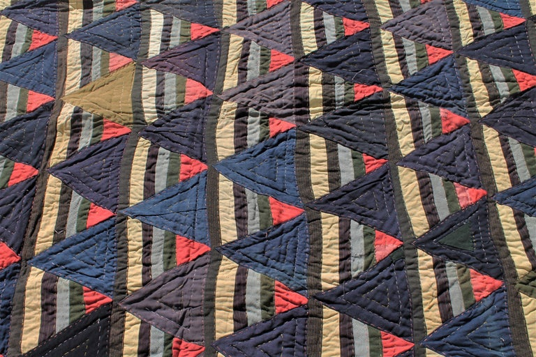 Afro-American Roman Stripes Quilt In Excellent Condition For Sale In Los Angeles, CA