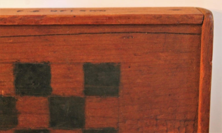 Wood 19th Century Original Painted and Signed Gameboard from Pennsylvania For Sale