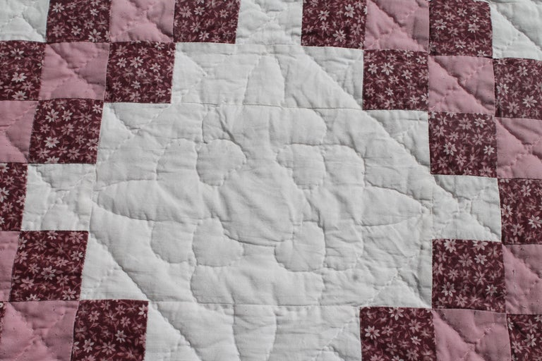 Hand-Crafted Irish Chain Quilt King Size For Sale
