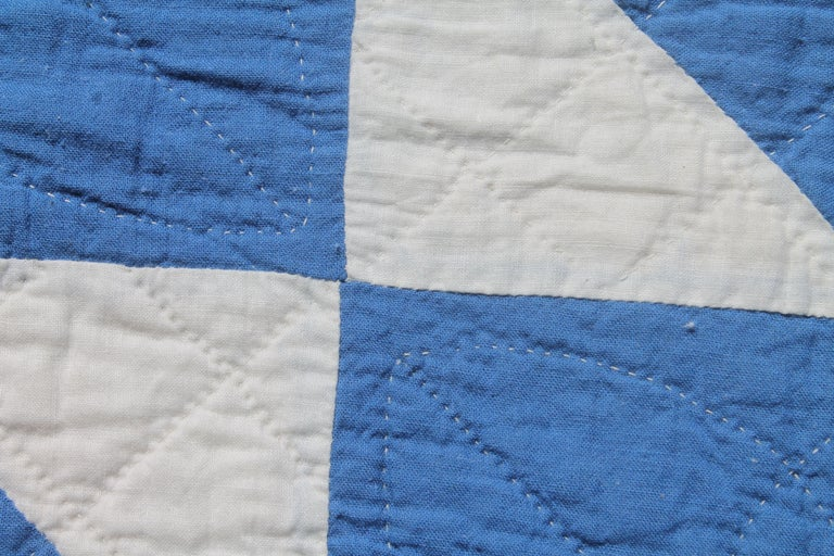 Antique Quilt-French Blue and White Geometric Quilt In Good Condition For Sale In Los Angeles, CA