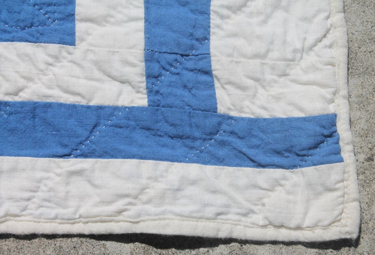 20th Century Antique Quilt-French Blue and White Geometric Quilt For Sale