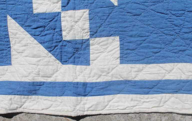 Cotton Antique Quilt-French Blue and White Geometric Quilt For Sale