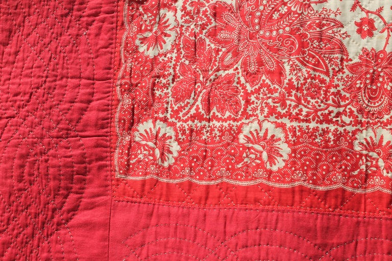 Country Antique Quilt, 19th Century Bandana Quilt For Sale