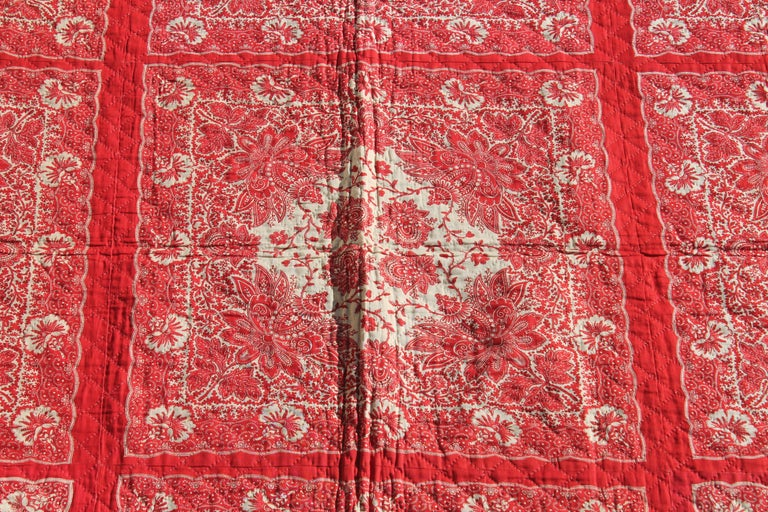 Antique Quilt, 19th Century Bandana Quilt In Excellent Condition For Sale In Los Angeles, CA