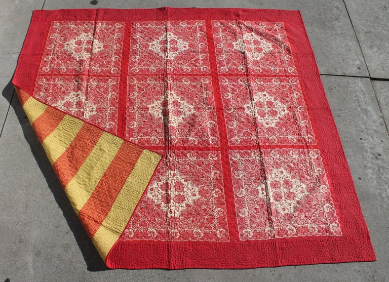 This super rare bandana quilt is in pristine condition with a bars pattern backing. The quilting is fantastic and the quilt was found in Berkshire County, Pennsylvania. This is a real collectors.