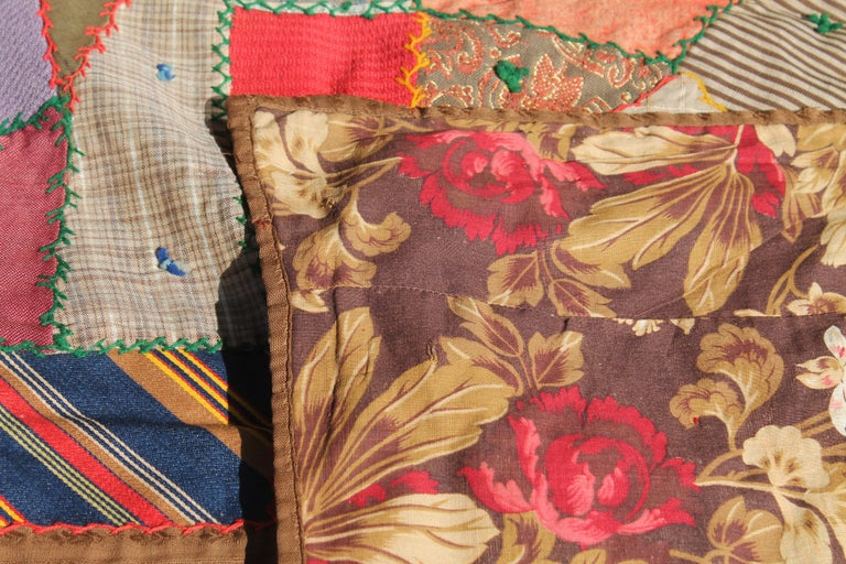 Adirondack Antique Quilt, Contained 19th Century Crazy Quilt from Pennsylvania For Sale