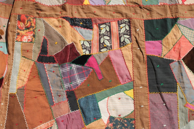 American Antique Quilt, Contained 19th Century Crazy Quilt from Pennsylvania For Sale