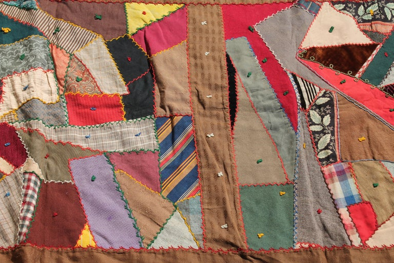 Hand-Crafted Antique Quilt, Contained 19th Century Crazy Quilt from Pennsylvania For Sale