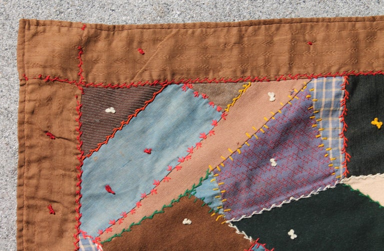 Antique Quilt, Contained 19th Century Crazy Quilt from Pennsylvania In Good Condition For Sale In Los Angeles, CA