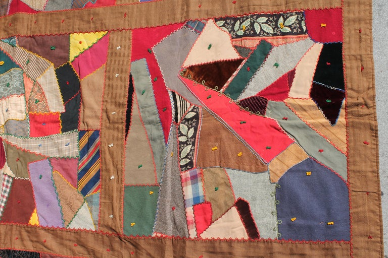 Velvet Antique Quilt, Contained 19th Century Crazy Quilt from Pennsylvania For Sale