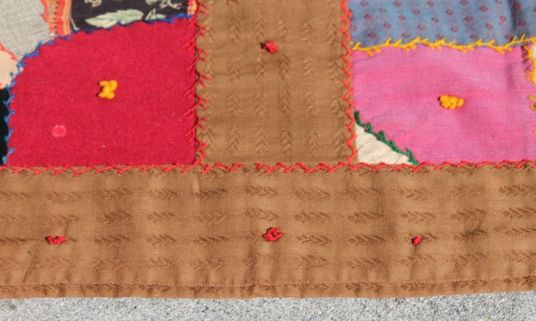 Antique Quilt, Contained 19th Century Crazy Quilt from Pennsylvania For Sale 2