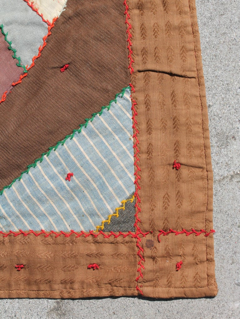 Antique Quilt, Contained 19th Century Crazy Quilt from Pennsylvania For Sale 1
