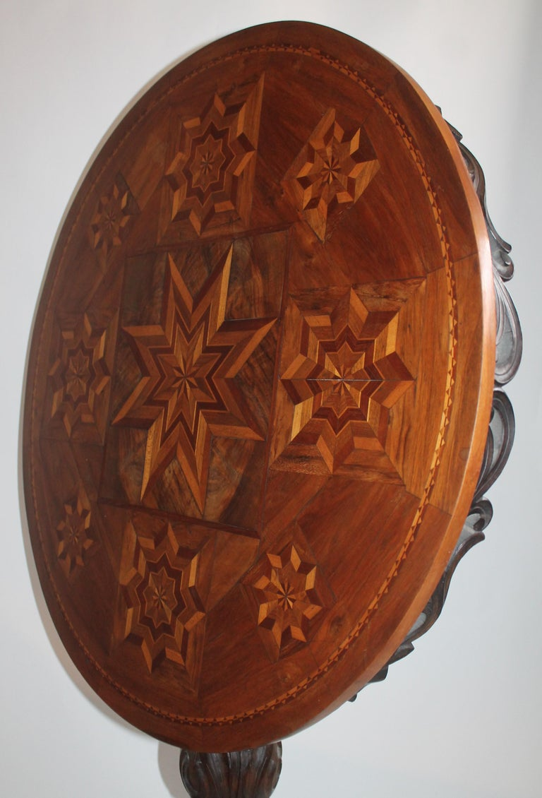 Antique Table with 19th Century Marque Inlaid Stars Top For Sale 1