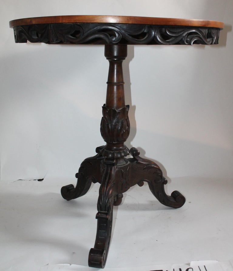 Antique Table with 19th Century Marque Inlaid Stars Top For Sale 2