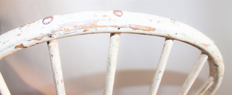 19th Century Antique Windsor Chair in Original White Painted Surface For Sale