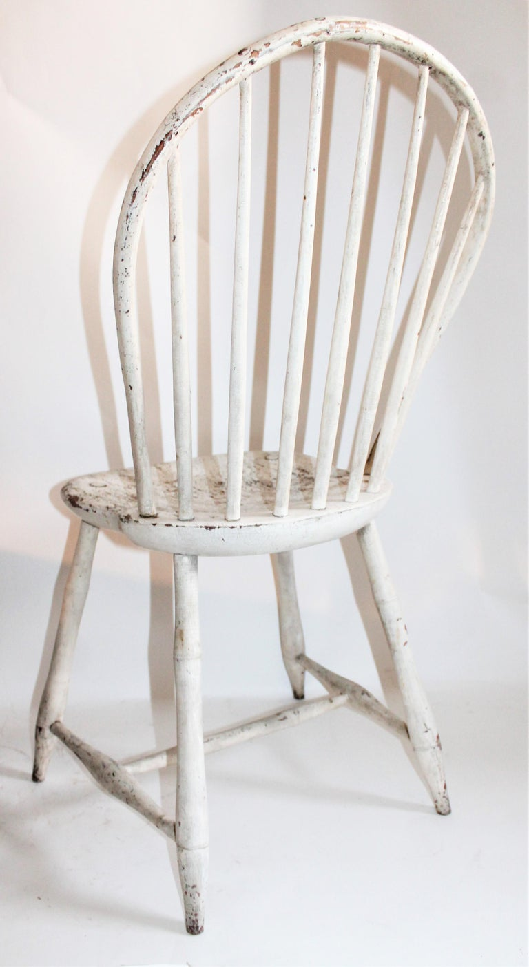 Hand-Crafted Antique Windsor Chair in Original White Painted Surface For Sale