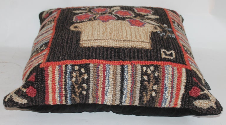 Replica of a 19th century hand woven rug that was sold in a New York auction for $25,000. This item has minor wear and age from use. In great used condition. The backing of this modern Folk Art rug pillow is in velvet.