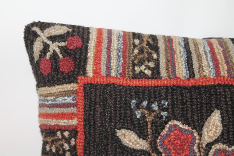 American Hand Hooked Folk Art Rug Pillow For Sale