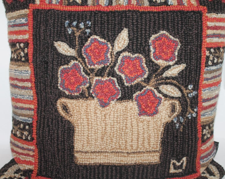 Hand-Crafted Hand Hooked Folk Art Rug Pillow For Sale