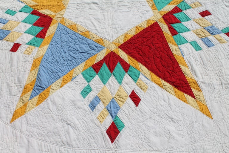 Country Antique Quilt, Northeastern Star Quilt For Sale