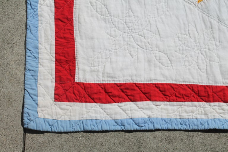 Hand-Crafted Antique Quilt, Northeastern Star Quilt For Sale