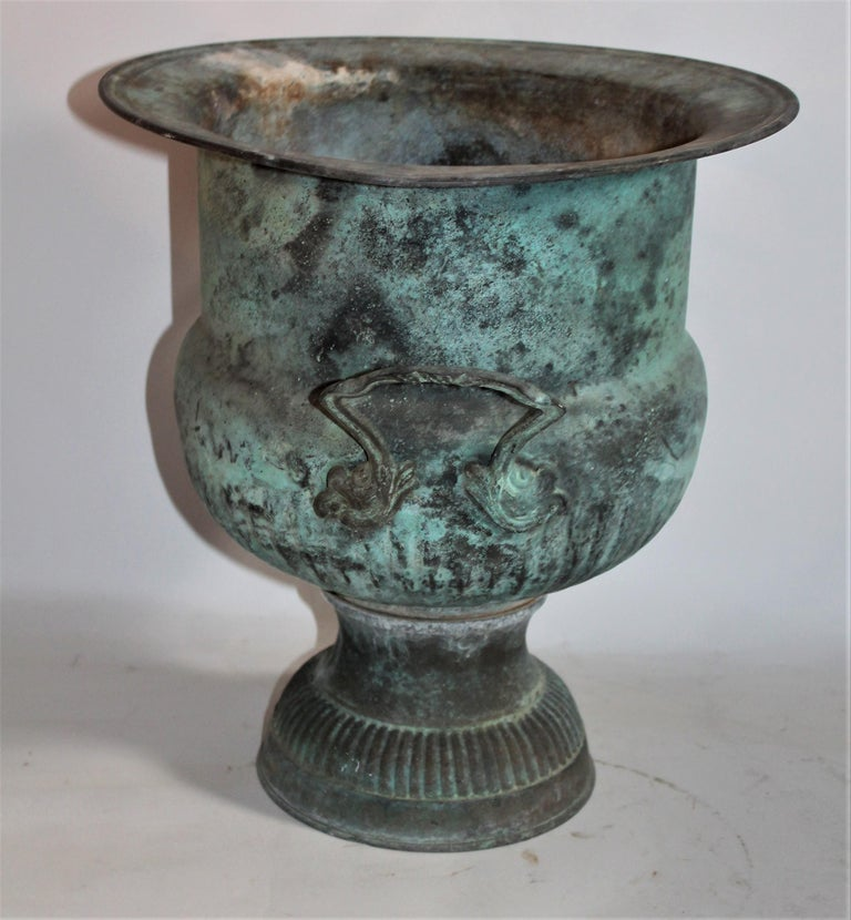 American Classical 19th Century Urn with Handles in Patinated Copper Surface For Sale