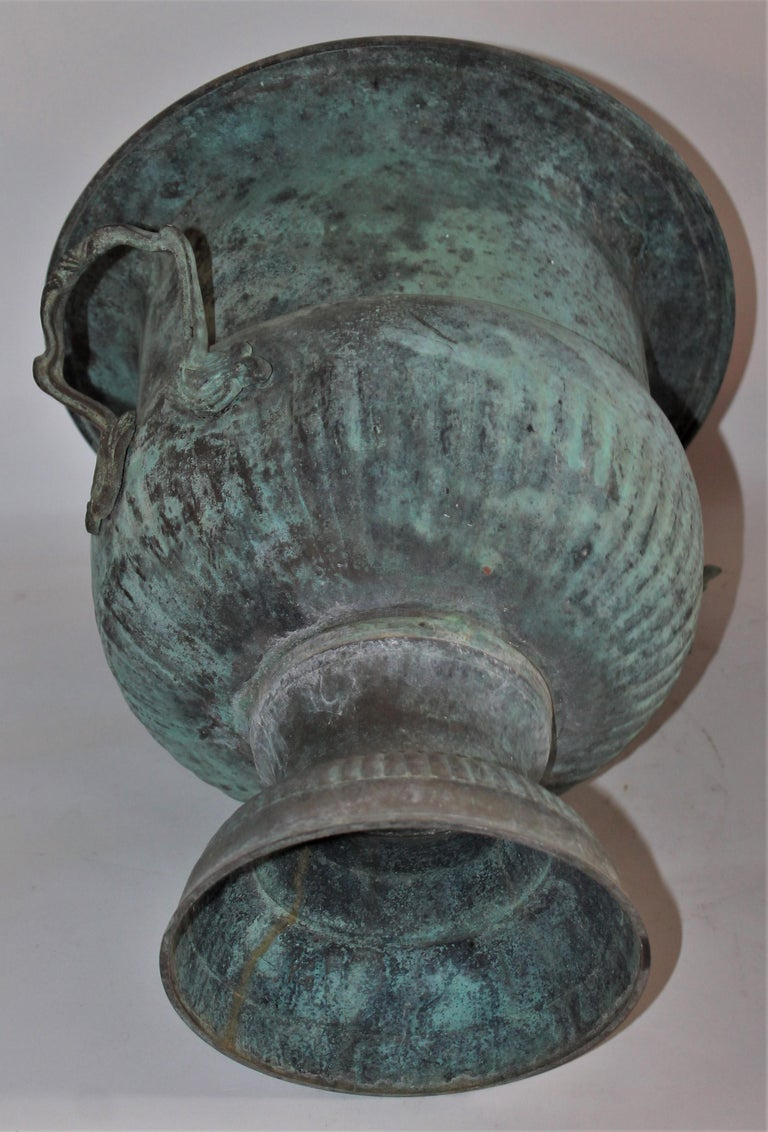 American 19th Century Urn with Handles in Patinated Copper Surface For Sale