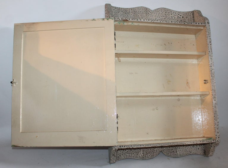 Patinated Early 20th Century Original Painted Medicine Cabinet For Sale