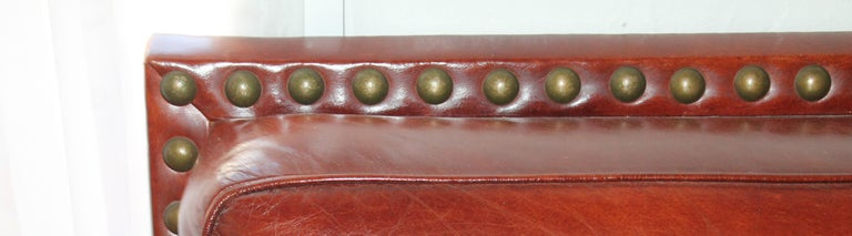 Antique Leather Sofa with Custom-Made Cushion In Distressed Condition For Sale In Los Angeles, CA