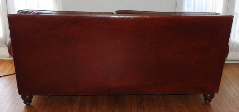Antique Leather Sofa with Custom-Made Cushion For Sale 1