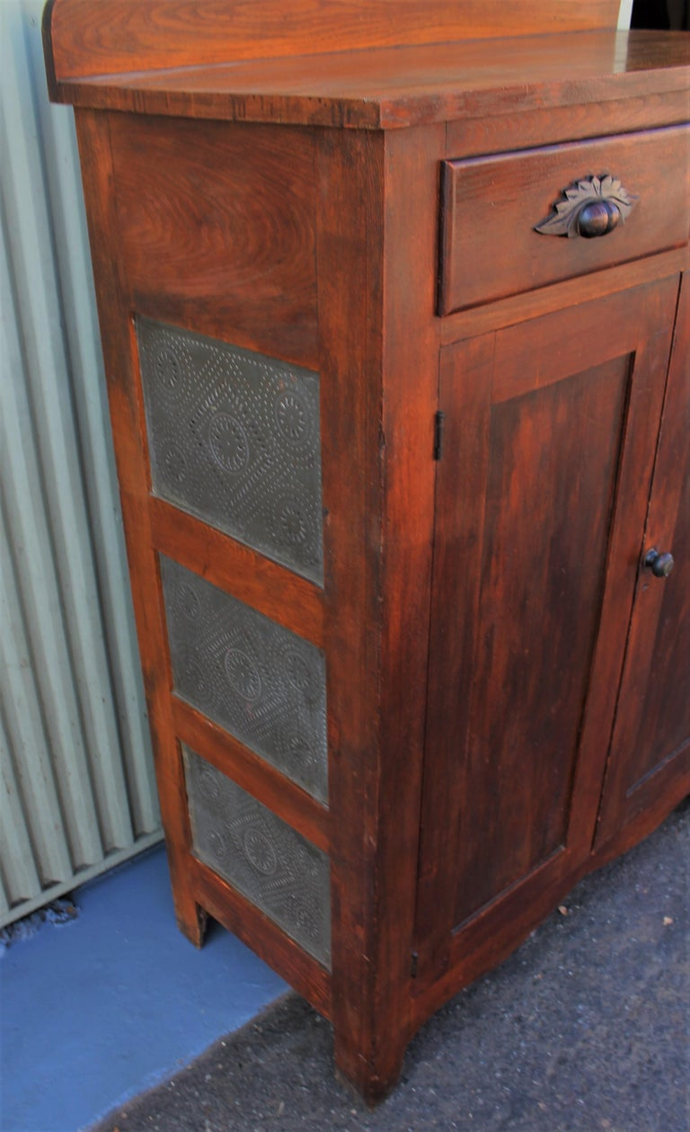 Country Antique Pie Safe or Jelly Cupboard Combo For Sale