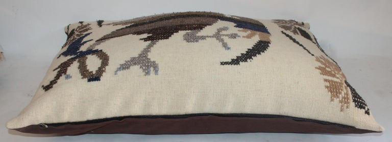 Wool Mexican Indian Weaving & Embroidered Big Pillows For Sale