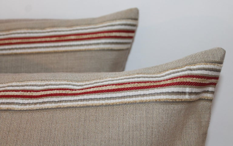 Adirondack Pair of Vintage Ticking Bolster Pillows For Sale