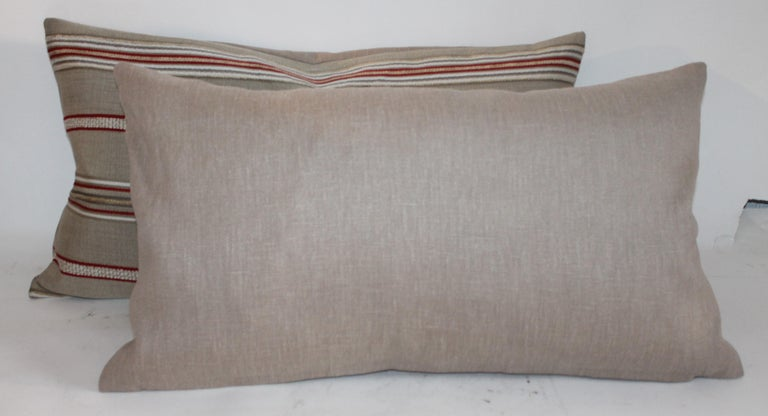 American Pair of Vintage Ticking Bolster Pillows For Sale