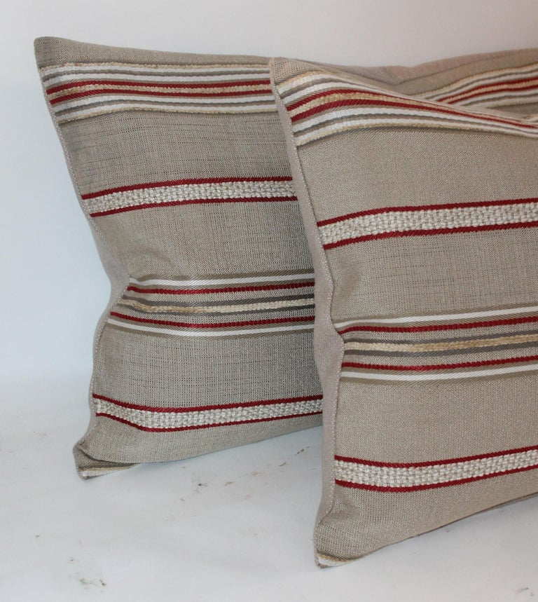 Hand-Crafted Pair of Vintage Ticking Bolster Pillows For Sale