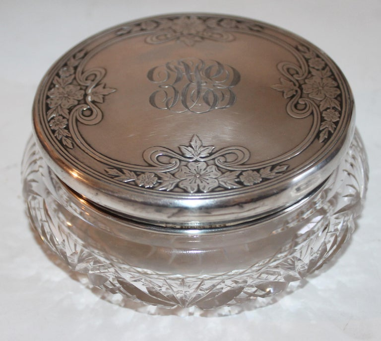 Sterling Silver Lided Powder Jars Collection of Five For Sale 1