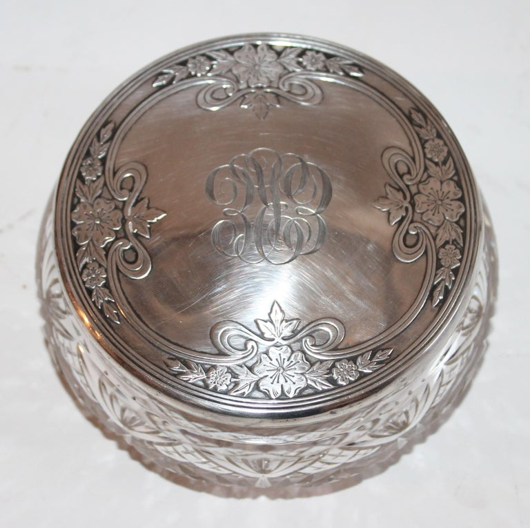Sterling Silver Lided Powder Jars Collection of Five For Sale 2