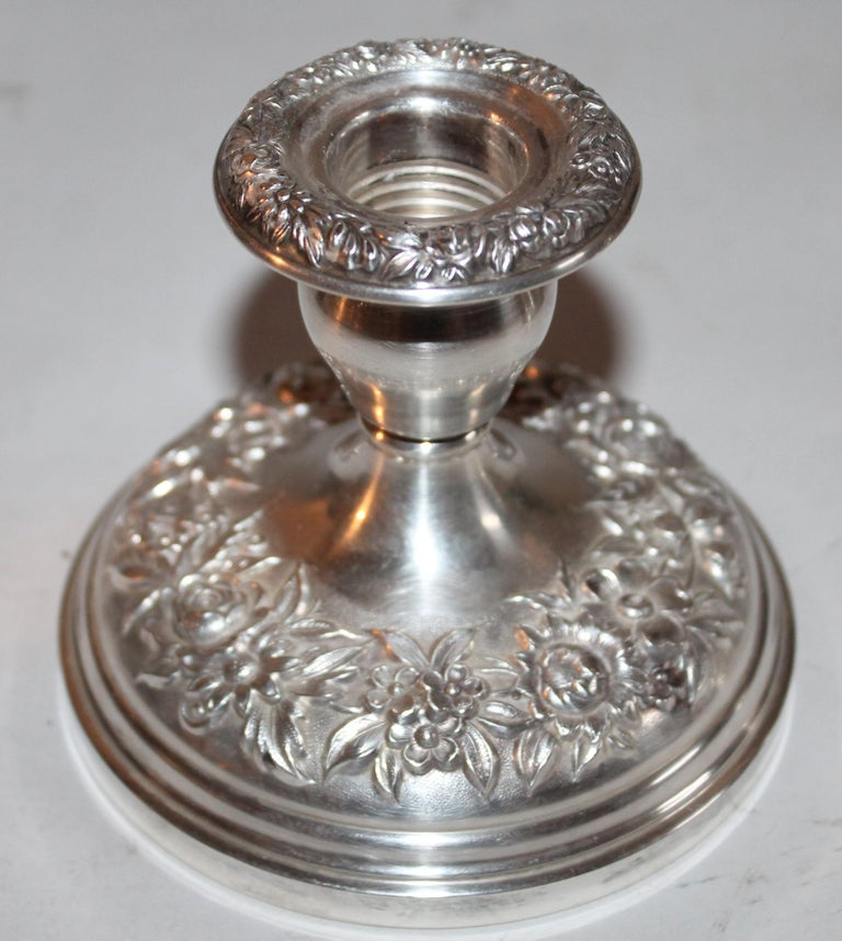 American Sterling Silver Weighted Kirk & Sons Candle Stick Holders / Pair For Sale