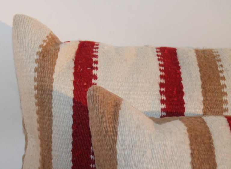 American Navajo Saddle Blanket Pillows, Pair For Sale