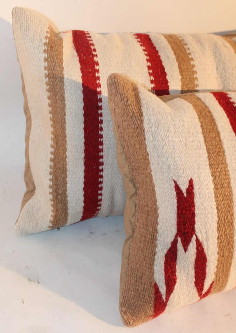 Hand-Woven Navajo Saddle Blanket Pillows, Pair For Sale